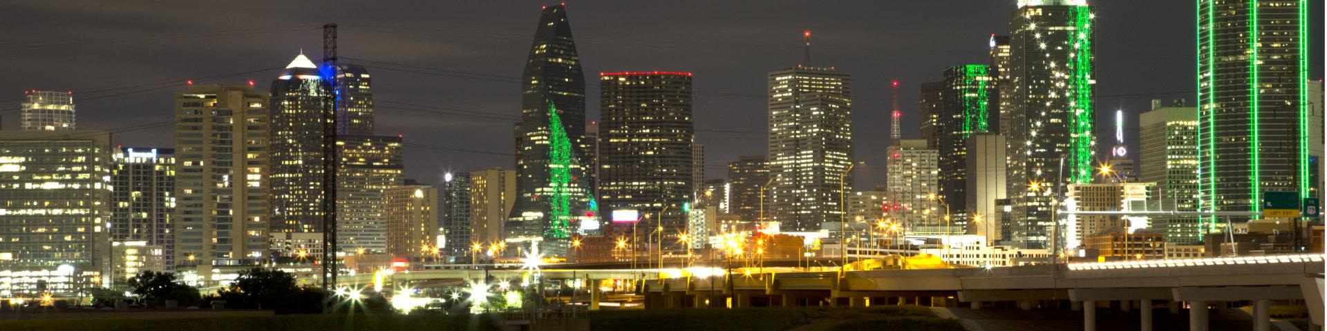 Beautiful city Dallas skyline at night , TX USA